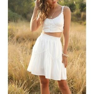 Dresses & Skirts - NWT White Button Crop Top & Tiered A-Line Skirt, S